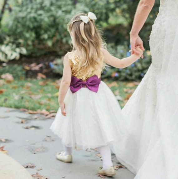 Gold And Purple Flower Girls Dress Gold Sequined And Etsy