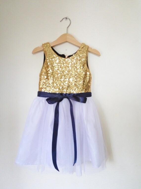 Gold weiß und Marine Blume Mädchen Kleid gold Pailletten und | Etsy