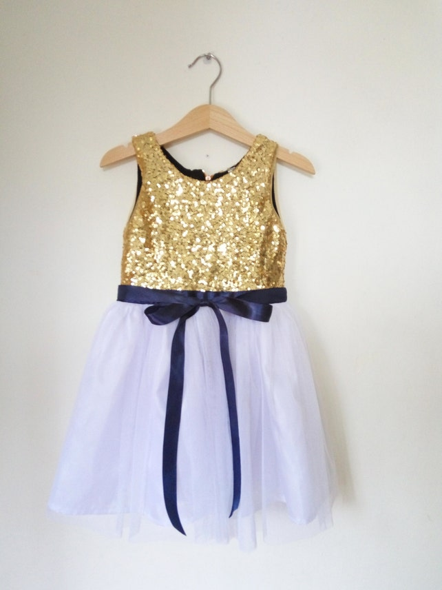 Gold white and navy flower girls dress gold sequined etsy image 0 mightylinksfo