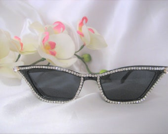 d734b241a7 Bling Cat eyes Rhinestone Sunglasses Black Frame