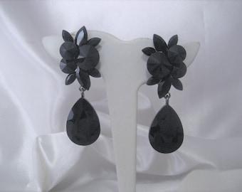 ca5dca35b Jet Black Crystal Rhinestone Clip-on Dangle Tear Drop Earrings, Bridal, Prom,  Pageant, Wedding 2 5/8