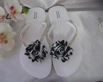 991996d6989a7 Bling Crystal Rhineston Black Flip Flop Shoes Red Rose Flower   Etsy