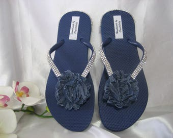 d2159c2ac Navy Blue Flip Flops with Blue Denim Shabby Flower   Crystal Rhinestone