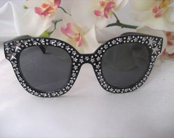 311f1d976d Bling Inspired Rhinestone   Silver tone Stars Sunglasses Eyewear Black Frame  Accessories