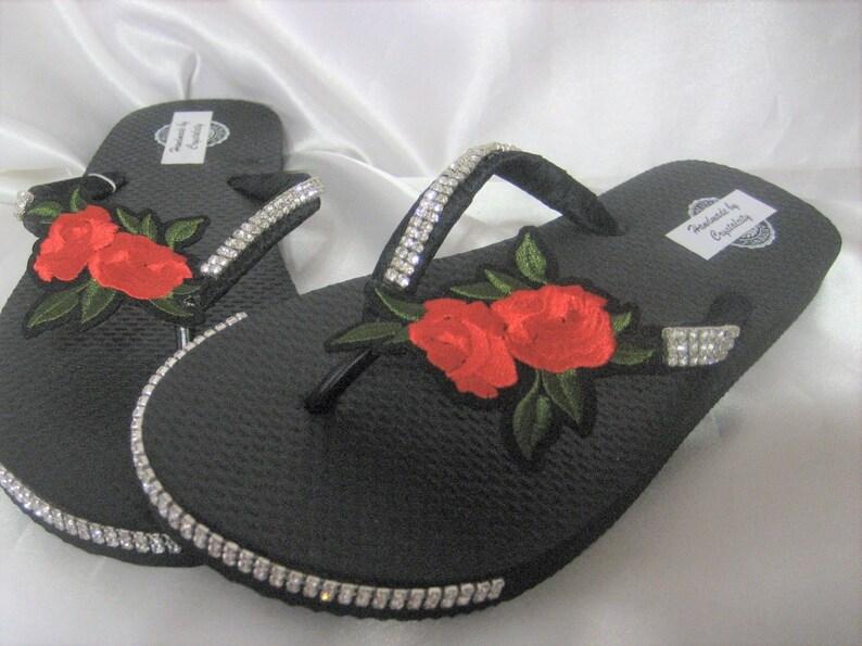 78bda39ae0969 Bling Crystal Rhineston Black Flip Flop Shoes Red Rose Flower, bridal,  beach, bridesmaid Size 7-8