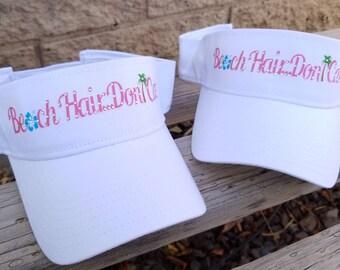 acaa747d Beach Hair Don't Care Hats and Sun Visors, Custom Beach and Lake Hats,  Rhinestone Beach Hats, Vacation Hats, Fun Hats in Colors you choose!