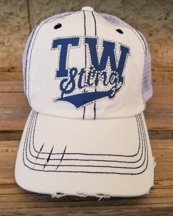 f4f578cec3df8 Baseball Mom Hat Custom Logo Trucker cap Bling Sports Team