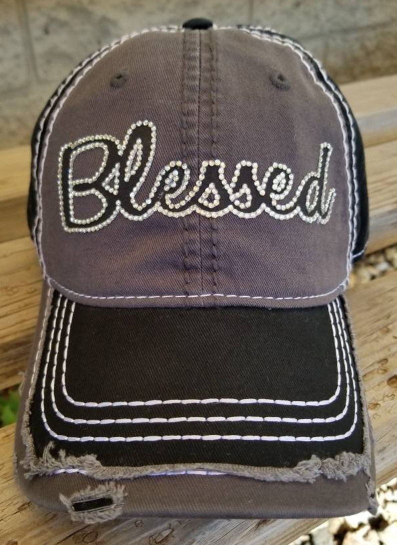 47381511 Blessed Rhinestone Hat Distressed Blessed two tone black and | Etsy