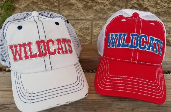 15a00fa2c23 Rhinestone Baseball Mom Trucker Hat WILDCATS bling team hat