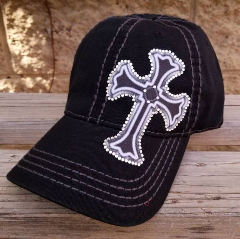 305bed62386b3b Rhinestone Cross Hat Bling Cross Dad Hats and Trucker Caps | Etsy