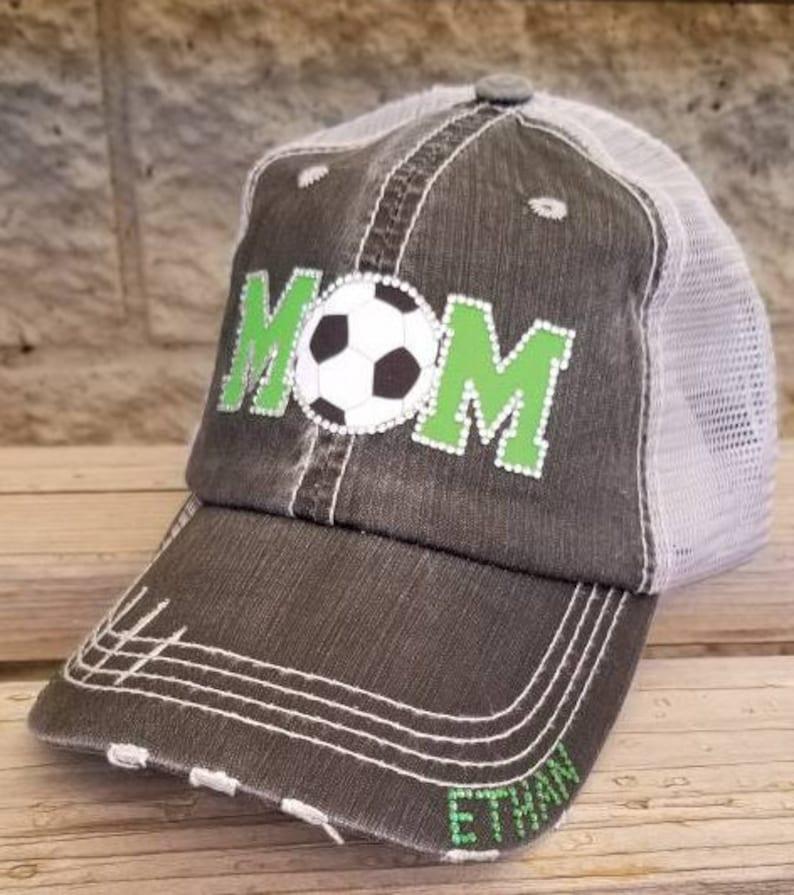 Bling Soccer Hats Custom color MOM Soccer Hats Soccer Mom Hats Soccer Gift-Match your school or team colors!