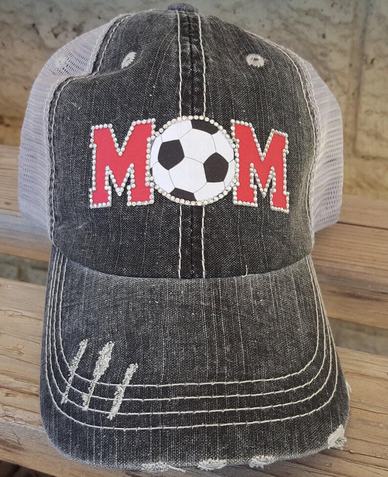 c718b3707e5 Soccer mom hat Custom Soccer Hats Bling Soccer Hats Soccer