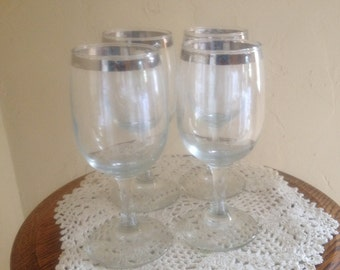 6ae4649bd8f Vintage Set of (4) Silver Trim Wine Glasses- 8 ounce