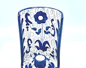 Vintage Hand Painted Candle Holder Spain- Blue and White Floral Wall Sconce