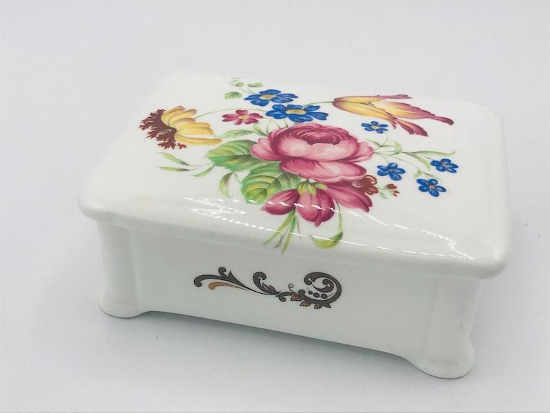 Exclusive-Lidded Box 5 Marked Floral Design Vintage Porcelain  Box Fine Bone China England