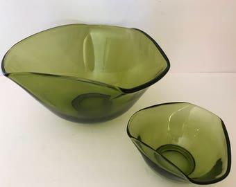 Vintage Green Anchor Hocking Modern Dip bowl- 2 Piece Set-Nice condition