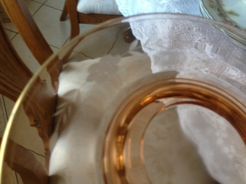 Vintage Pretty Peach Amber Floral Etched Glass Serving Dish with gold trim 10