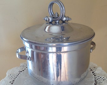 Vintage Buenilium Aluminum Chrome Ice Bucket-Mid Century