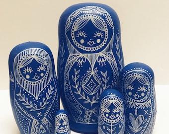Russian Matryoshka Dolls Nesting In Blue Home Decor