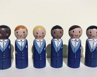 Groom cake topper, Little wedding box gift, wedding cake topper, groom peg doll, wedding gift