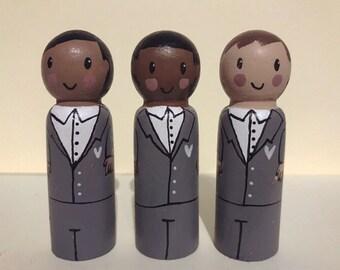 Groom cake topper, groom peg doll, wedding gift, wedding cake topper