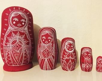 Red Russian dolls, matryoshka nesting dolls, wooden dolls in dolls, babushka home decor