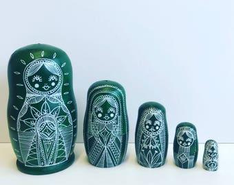 Russian matryoshka dolls, russian nesting dolls, green mandala dolls