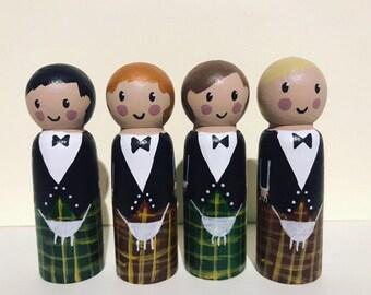 Groom cake topper, Wedding cake topper, scottish peg doll, little wedding box