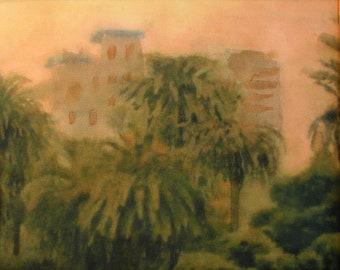 ORIGINAL WATERCOLOR - Santa Monica Sunset with palm trees