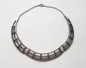 Wege Tenn, Vintage pewter collier necklace, Sweden, 1960s (F1178)