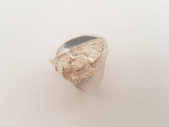 Brutalist Silver Ring Sweden 1980s (F2917F)