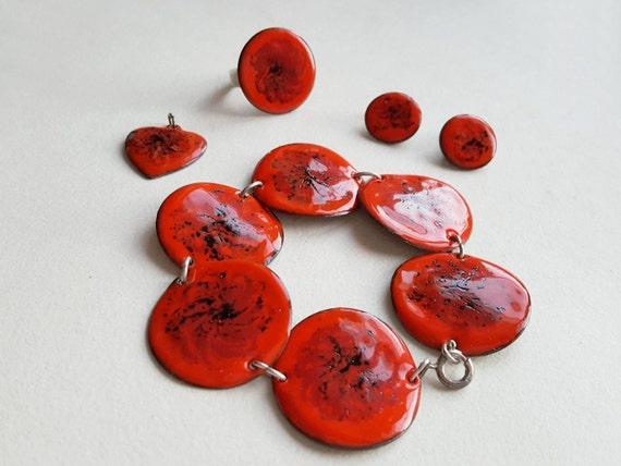Fiery red copper and enamel jewelry set, Denmark,