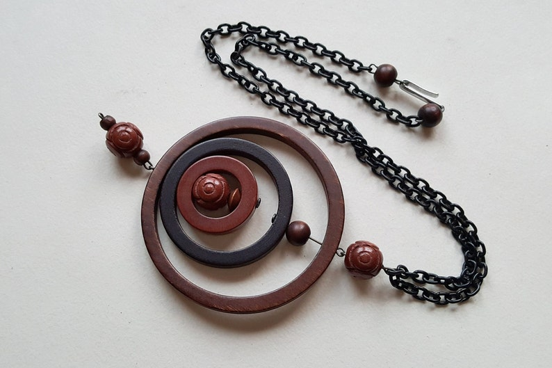 Finland Ibero 1970s F1730 Large Wood Bead Necklace