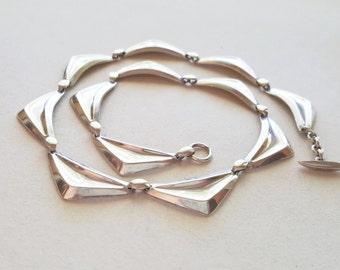 Hermann Siersbøl, Sterling silver Collier Necklace, Denmark, 1960s (F1421)