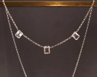 6177f44c8 Rock crystal and sterling silver necklace.Quartz necklace.Gemstone chain  necklace.Hand made necklace.