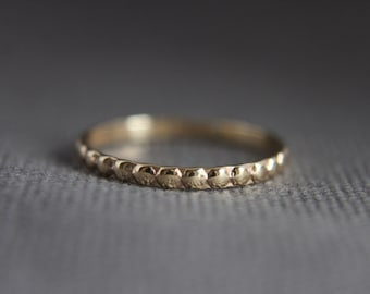 9 ct gold stacking ring.Beaded.Custom made.Textured.Hand made.