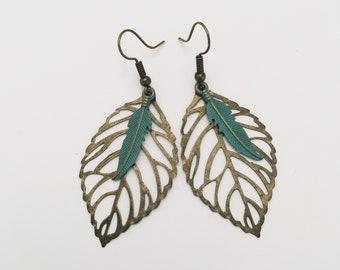 Antique Brass Verdigris Green Feather Earrings