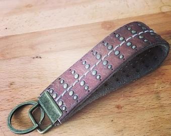 Antique Brass Keychain - Recycled Belt Key Chain