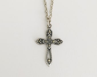 Silver Victorian Cross Necklace Sterling Pendant 925