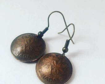 Canadian Copper Penny Earrings - Maple Leaf Pennies