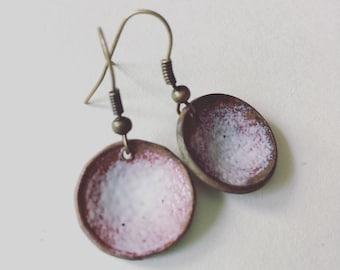 Canadian Copper Penny Earrings - Maple Leaf Pennies - White Enamel