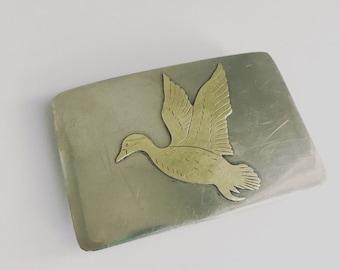 Silver Belt Buckle with Brass Duck