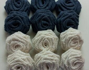 Navy Blue Burlap Flowers, Navy Blue Burlap Roses, Oyster Burlap Flowers,Blue Burlap Flowers,Navy Burlap flowers, Navy blue burlap
