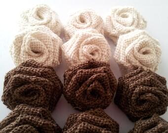 Small burlap Flowers, Small Burlap Roses,  Brown Burlap Roses ,Oyster Burlap Roses,Rustic Wedding decor,Brown Burlap,Mini burlap flowers