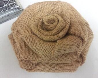 Burlap Cake Topper, Large Burlap Flower,  , Burlap Rose, Burlap Flower, Large Burlap Rose,Rustic wedding decor, Rustic decor - 6 inches