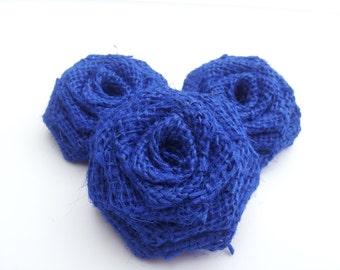 Royal Blue Burlap Flowers, Royal  Blue Burlap Roses, Blue Burlap Flowers, Royal Blue Burlap, Rustic Outdoor wedding decor