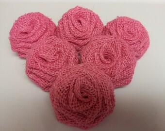 Pink Burlap Flowers, Pink Burlap Roses, Burlap Flowers, Burlap Roses, Rustic Wedding Decor, Pink Burlap, Rustic flowers,Pink Flowers