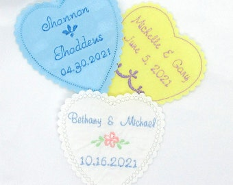 7 designs or Your Message finished edges lined 3x3 size HEART SHAPED WEDDING Dress Label Use Your Fabric or 6 colors polyester satin