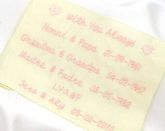 Gift HisHer Fully Lined Satin Stitched Edge 2 Sizes Mr.Mrs. 3 Shapes Linen or Satin Fabric Same Sex EMBROIDERED WEDDING LABELS