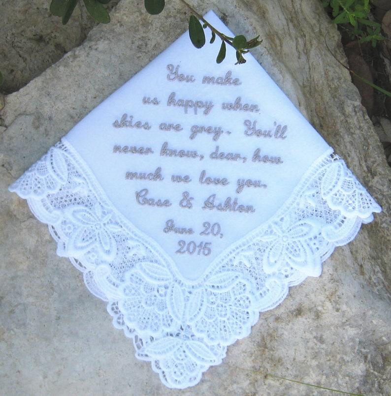 Unique Keepsake Date LACE WEDDING HANDKERCHIEF Gift Box Ladder Portrait 12x12 Mother of BrideGroom Personal Message WhiteIvory